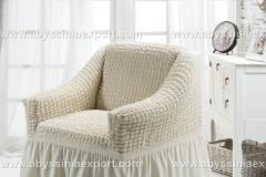 Bürümcük koltuk örtüsü tekli  beyaz