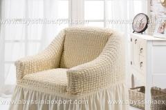 Bürümcük koltuk örtüsü tekli  krem